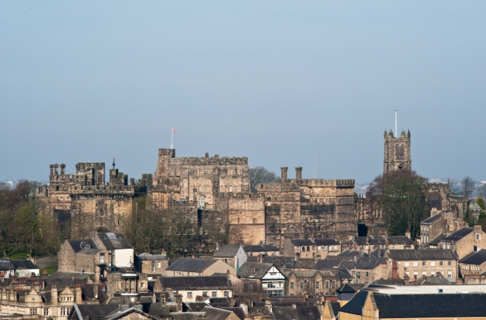 Lancaster Castle, Lancashire, UK. View from the tower of St Peter's Cathedral.